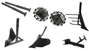 Комплект насадок для FJ500 (грунтозацепы, удлинитель, плуг, картофелевыкапыватель, окучник, сцепка) в Людиновое
